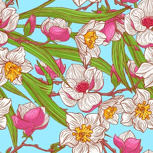 Magnolias and Narcissus wallpaper mural