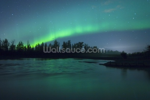 Aurora Borealis Over the River mural wallpaper