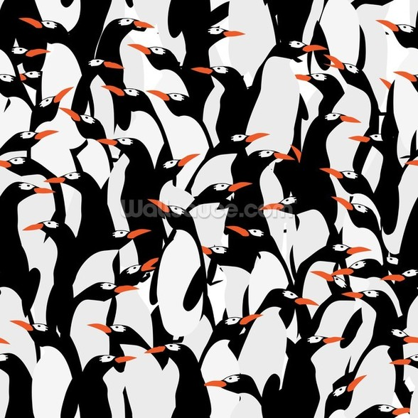 Penguins Pattern wall mural