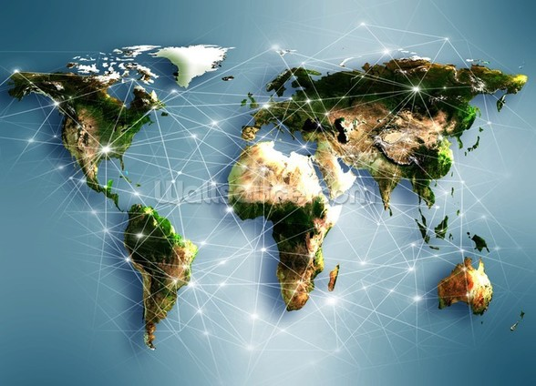 Communications World Map mural wallpaper