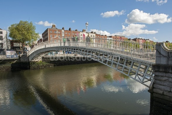 Hapenny Bridge in Dublin wall mural