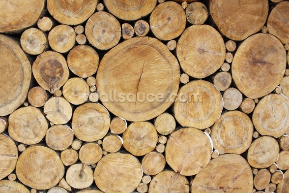 Stacked Logs mural wallpaper