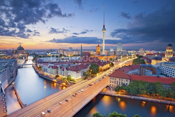 Berlin Evening Skyline mural wallpaper