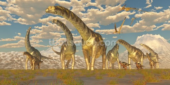 Argentinosaurus Herd Migration mural wallpaper