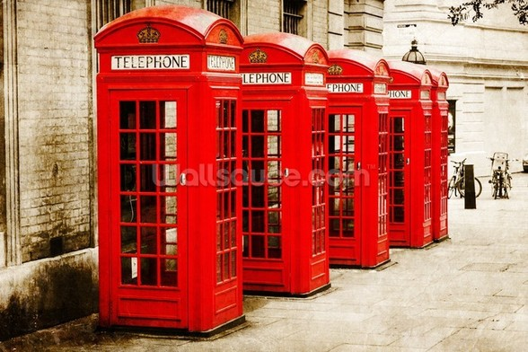 Red Telephone Boxes wall mural