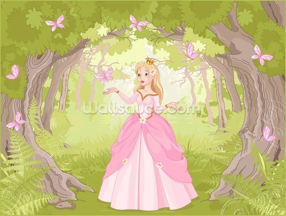 Princess in Enchanted Woodland wallpaper mural