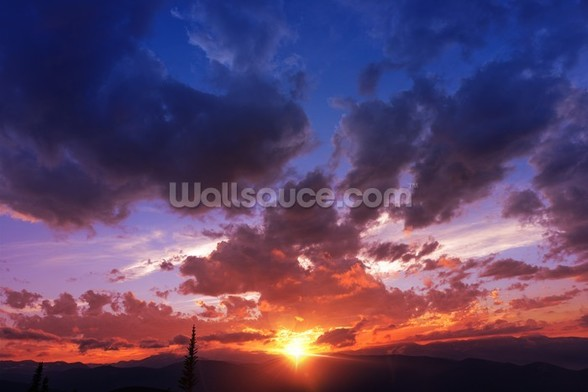 Mountain Range Sunset wall mural