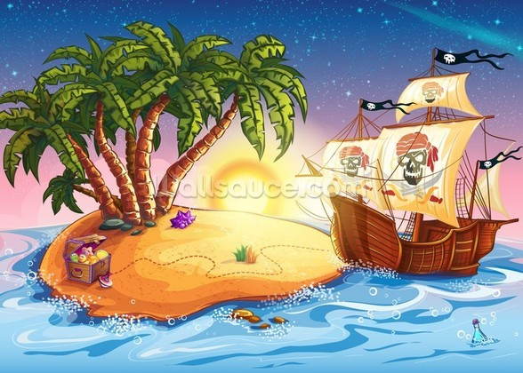 Treasure Island Sunset mural wallpaper
