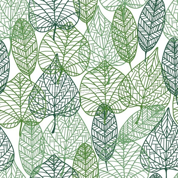 Dark and Light Green Leaves mural wallpaper