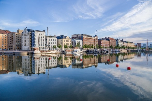 Helsinki Waterfront and Boats wallpaper mural
