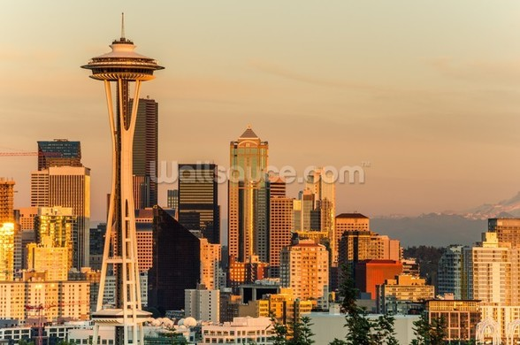 Stunning Sunset over Seattle wall mural