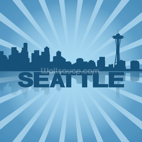 Seattle Skyline Graphic wallpaper mural