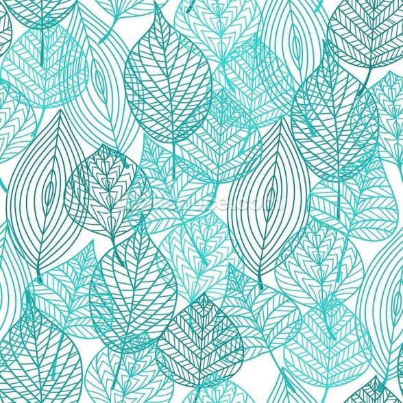 Turquoise Blue Autumn Leaves wall mural