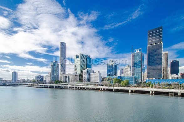 Skyline Brisbane mural wallpaper