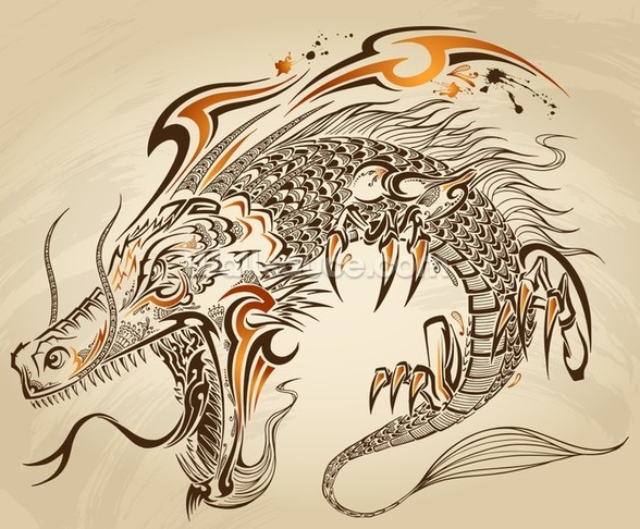 Tattoo Art - Dragon Illustration wall mural