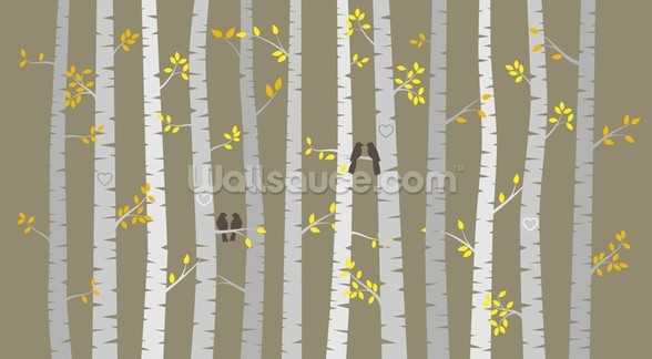 Birch Tree Love Birds wall mural