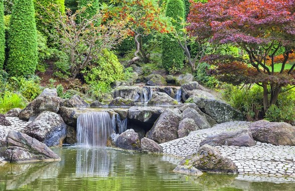 Cascade Waterfall in Japanese Garden in Bonn wallpaper mural