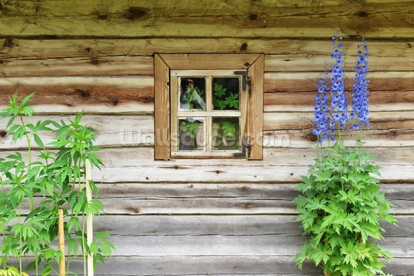 Wooden Chalet Window mural wallpaper