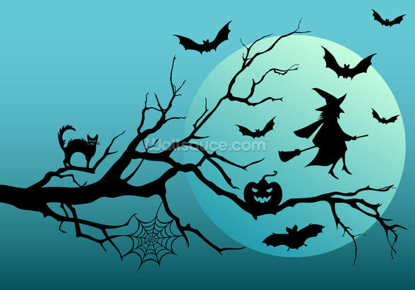 Witch and Bats mural wallpaper