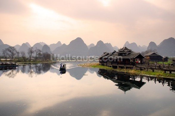 Sunrise in Yangshuo, Guilin wall mural