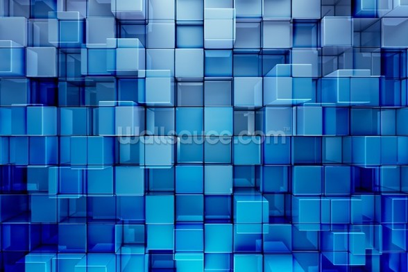 Blue Blocks Abstract Background mural wallpaper