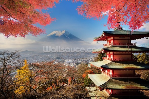 Mt. Fuji with Autumn Colours mural wallpaper