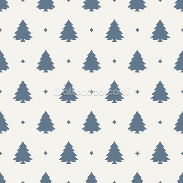 Christmas Tree Forest Blue wallpaper mural