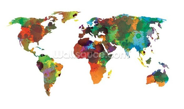 World map Water Colours mural wallpaper