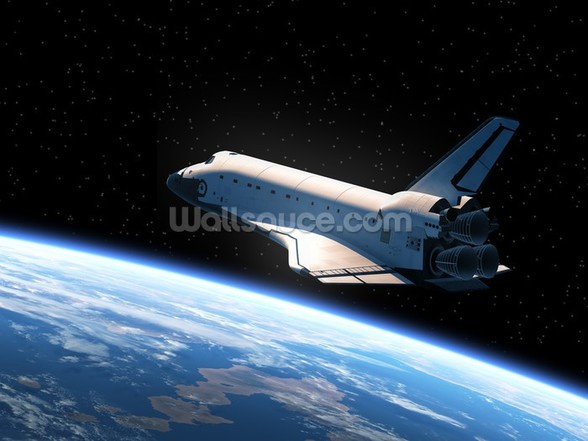 Space Shuttle Orbiting Earth wallpaper mural