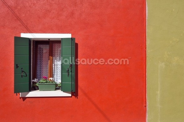Red and Olive Green Facade wall mural