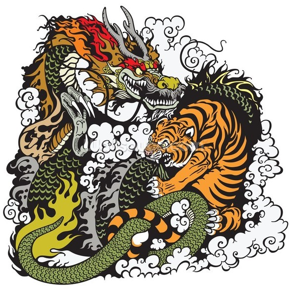 Tattoo - Dragon and Tiger wallpaper mural