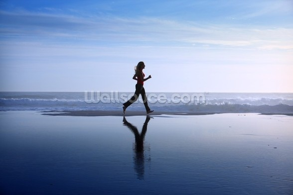 Running on Beach wall mural