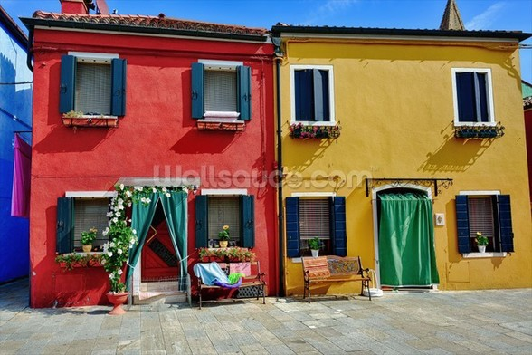 Colourful Burano Island Houses wall mural