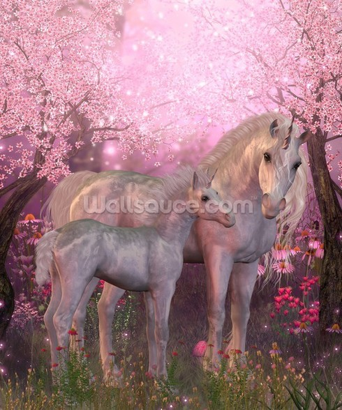 Unicorn Mare and Foal mural wallpaper