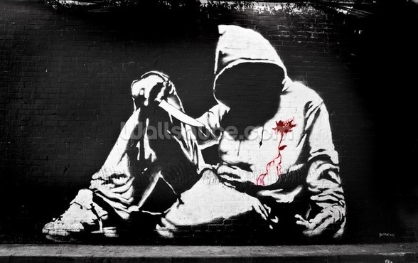 Banksy Hoodie with Knife Graffiti wallpaper mural