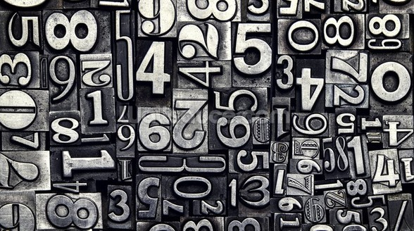 Old Metal Numbers mural wallpaper