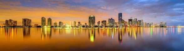 Miami Biscayne Bay Skyline wallpaper mural