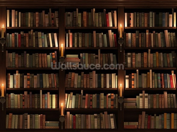 Bookcase and Candles wallpaper mural
