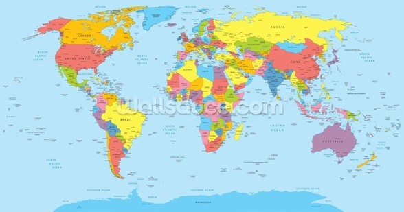 Colourful World Map mural wallpaper
