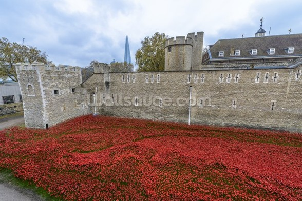 Tower of London Poppies mural wallpaper