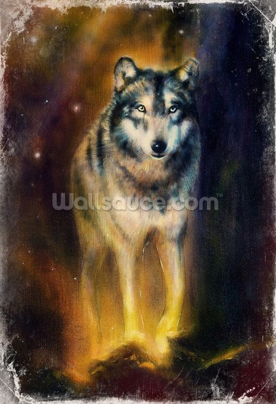Wolf in the Night wall mural