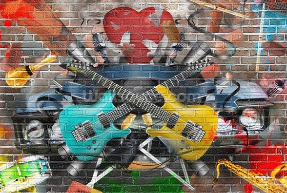 Graffiti - Guitar wallpaper mural