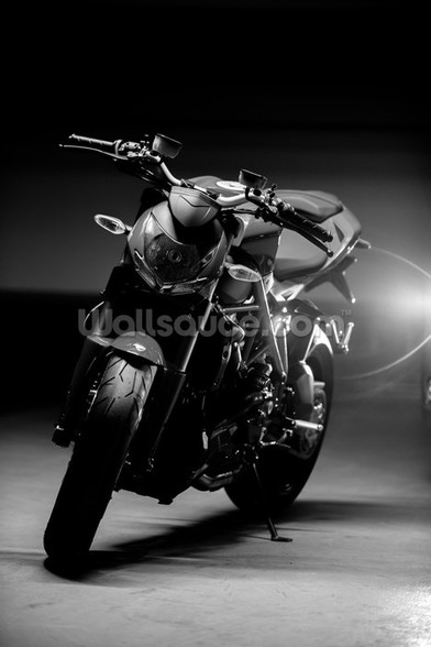 Motorcycle Black and White wall mural