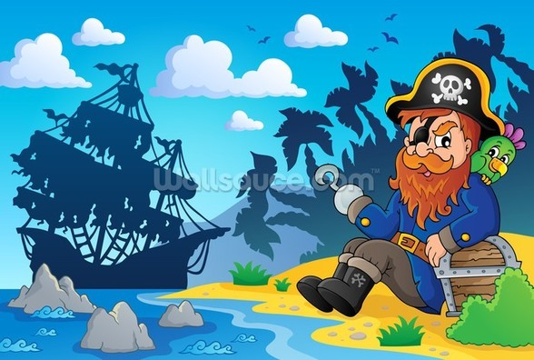 Pirate on Shore wallpaper mural