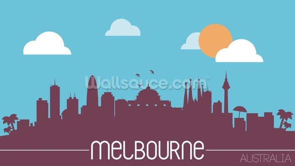 Melbourne Skyline Illustration mural wallpaper