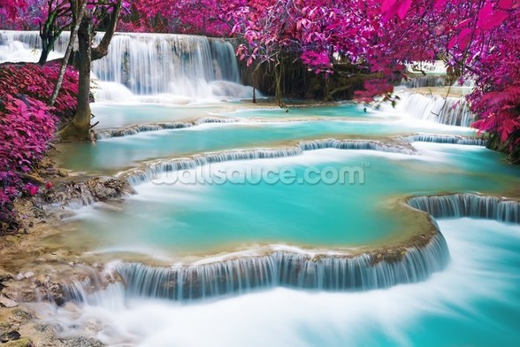 Turquoise Water of Kuang Si Waterfall wallpaper mural