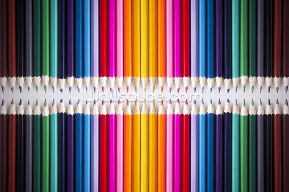 Line of Coloured Pencils mural wallpaper