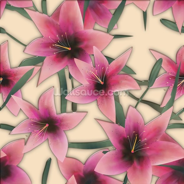 Pink Lilly wallpaper mural