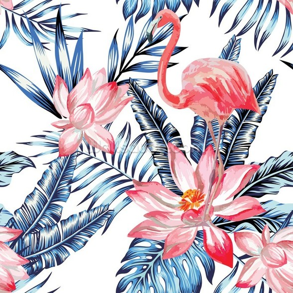 Blue Palm Flamingos wall mural