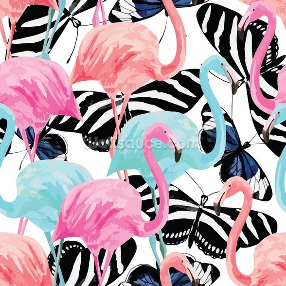 Flamingos with Butterflies wall mural